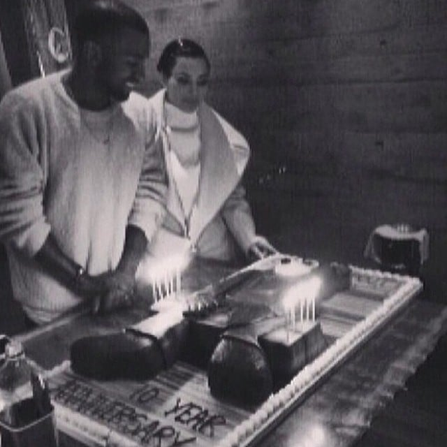 Kim Kardashian helped Kanye West celebrate the 10th anniversary of his debut album, College Dropout. Source: Instagram user kimkardashian
