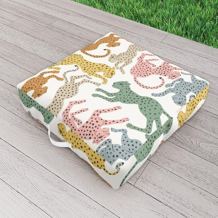Rainbow Cheetah Outdoor Floor Cushion by megangalante
