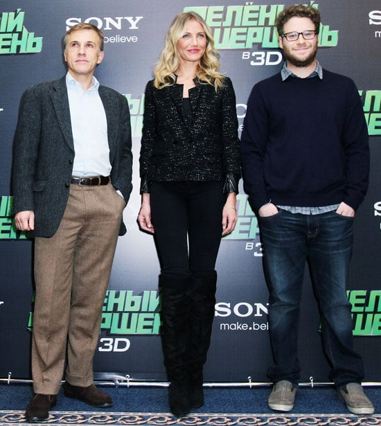 Pictures of Cameron Diaz, Christoph Waltz, and Seth Rogen in Moscow