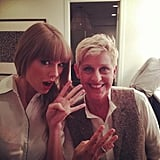 Ellen DeGeneres and Taylor Swift counted down the days until Swift's new album will be released. Source: Twitter user taylorswift13