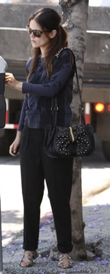 Rachel Bilson wears 3.1 Phillip Lim Bow Bag and Black Pants