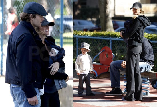 Pictures of Gisele Bundchen And Tom Brady Playing at a LA Park With Jack Moynahan And Benjamin Brady