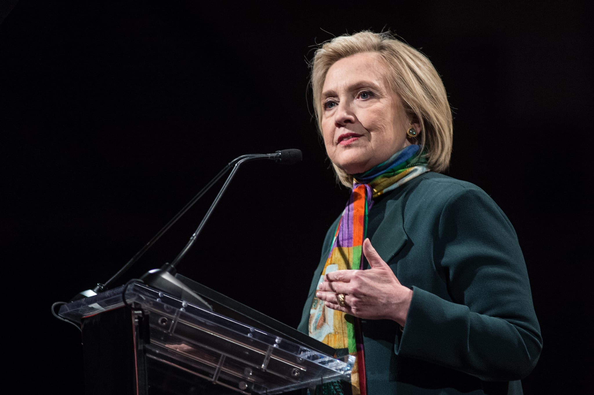 NEW YORK, NY - APRIL 22:  Hillary Clinton speaks at the 14th Annual PEN World Voices Festival at The Great Hall at Cooper Union on April 22, 2018 in New York City.  (Photo by Mark Sagliocco/Getty Images)