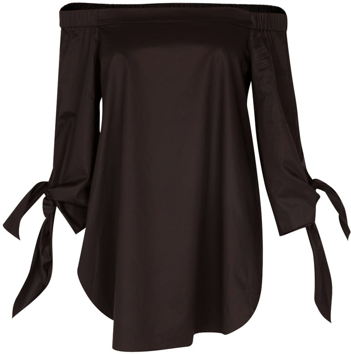Tibi Satin Poplin Off-the-Shoulder Tunic Black 2 ($295)