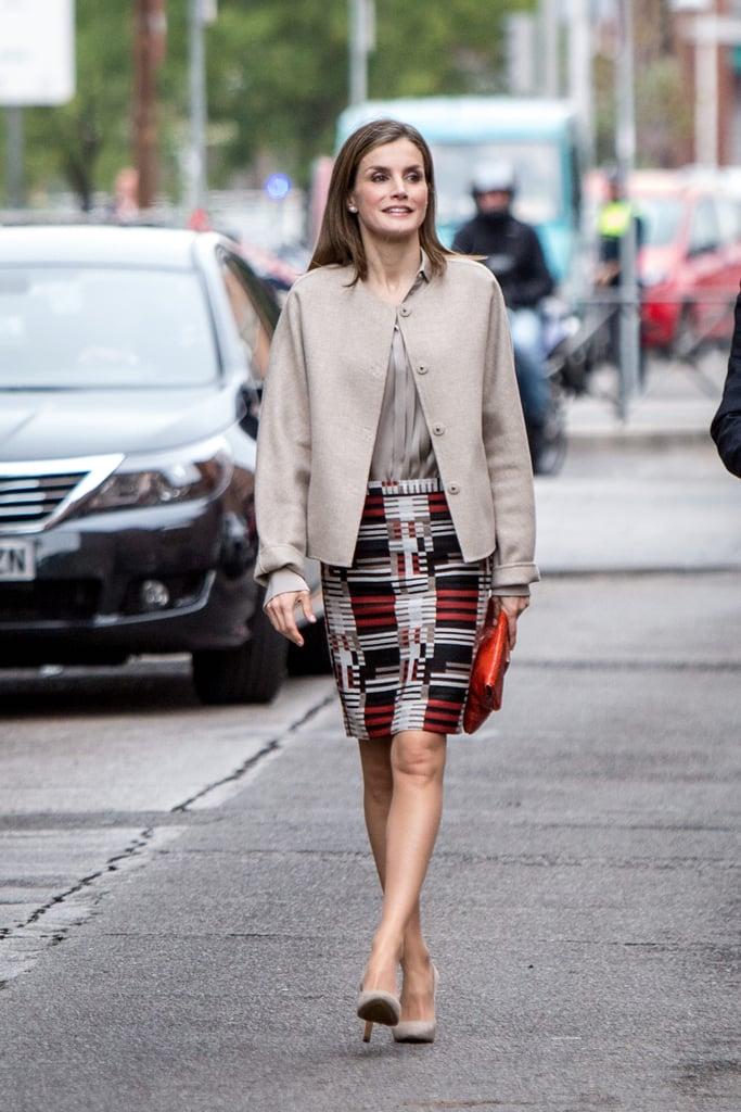 Queen Letizia's Graphic Pencil Skirt October 2016