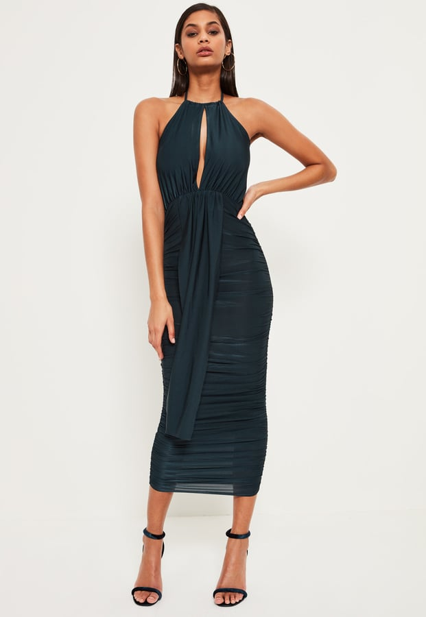 Missguided Green Slinky Keyhole Ruched Midi Dress ($51)