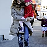 Sarah Jessica Parker held on to baby Tabitha Broderick in NYC.