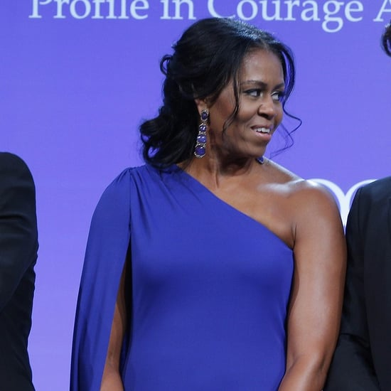 Michelle Obama Blue One Shoulder Dress
