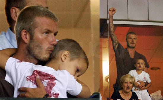 Beckham & His Boys Cheer on His Team
