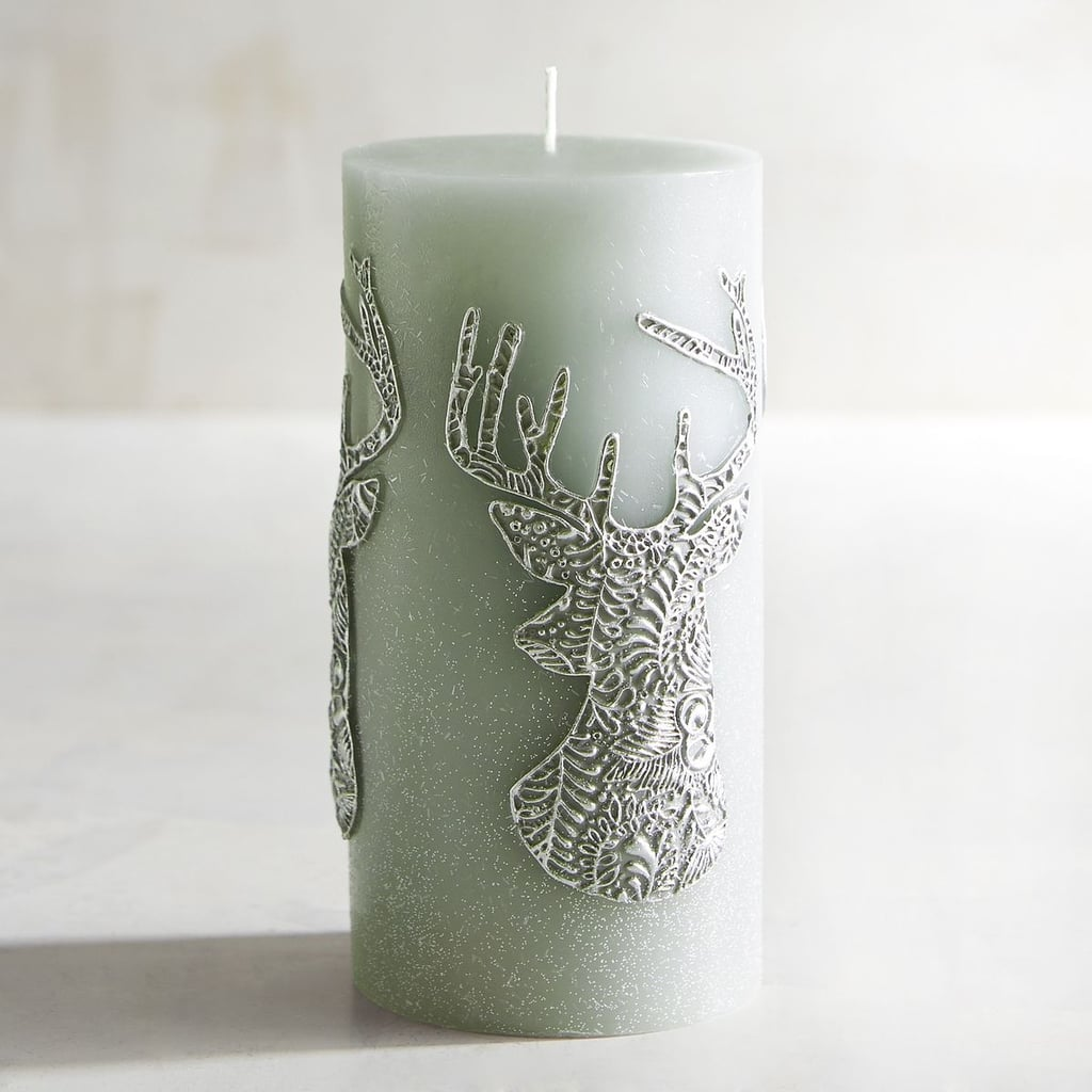 Deer Silhouette Unscented Pillar Candle ($16)