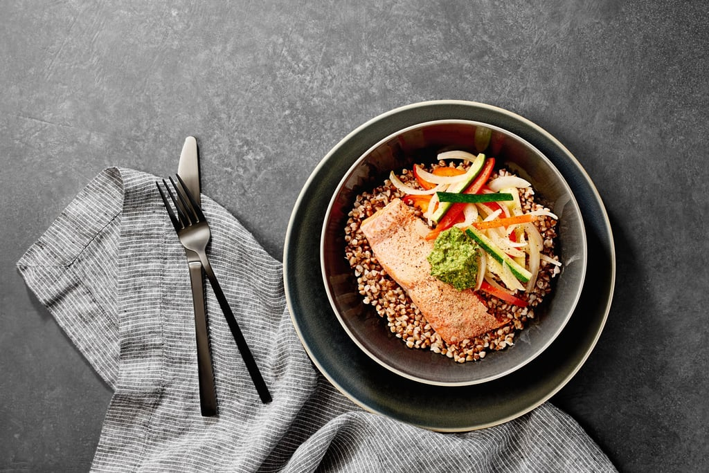 Salmon Buckwheat Bowl With Pesto
