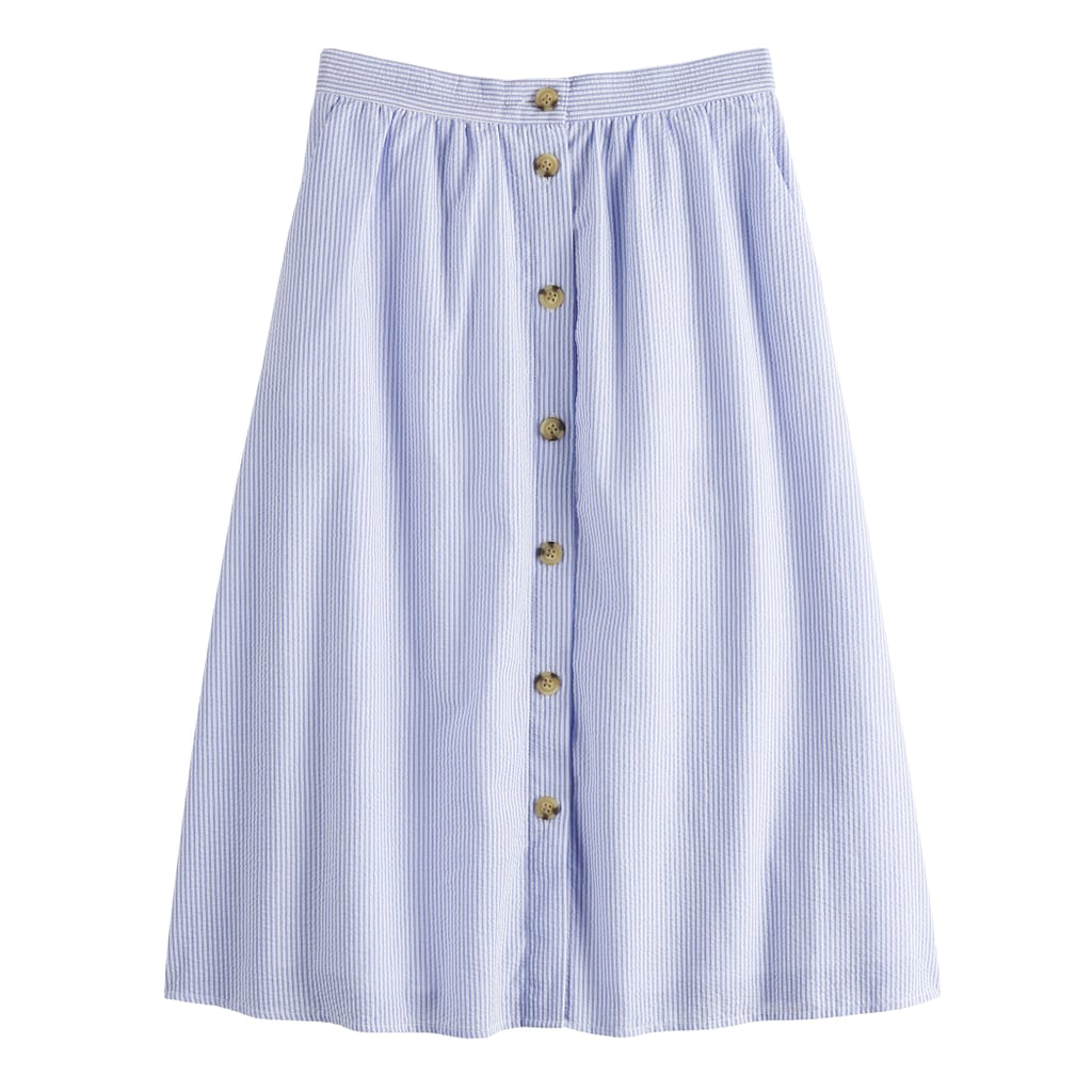 Textured Button Front Skirt