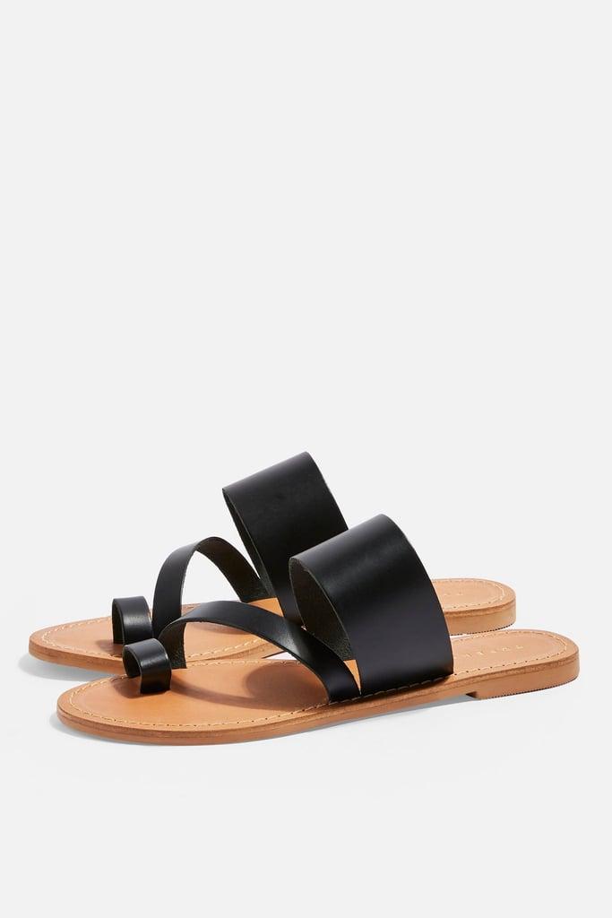 Topshop Honey Black Flat Sandals | Comfortable Sandals For
