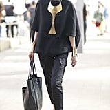 Check out the statement jewels on this all-black look.