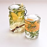 Keep bugs away with scented floating candle jars.