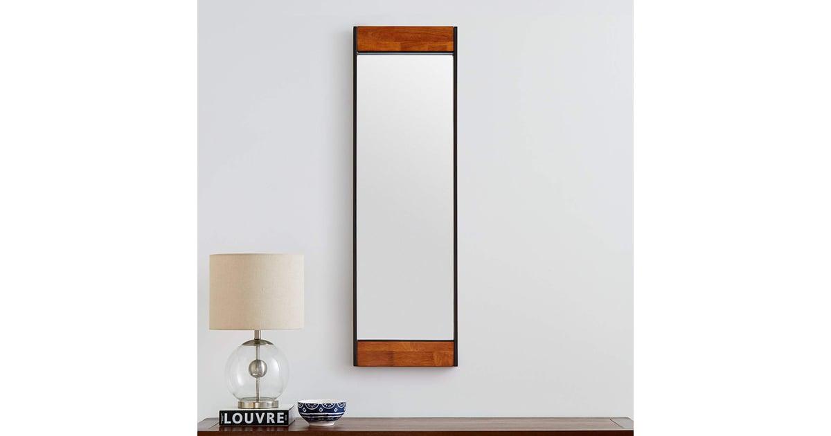 Rivet Wood And Iron Rectangular Mirror Best Cheap
