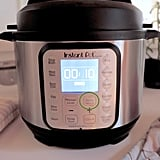 "Once the five minutes are done, if you don't have the automatic setting, select ""Keep Warm"" and set the time to 10 minutes.  Here, the time will count up from zero. At eight minutes, carefully switch the steam-release valve to ""Venting"" (using a pot holder or kitchen towel). Give it a minute or two before opening the pot."