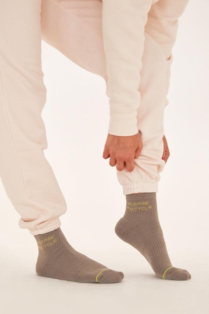 Girlfriend Collective Neon Please Recycle Quarter Crew Socks