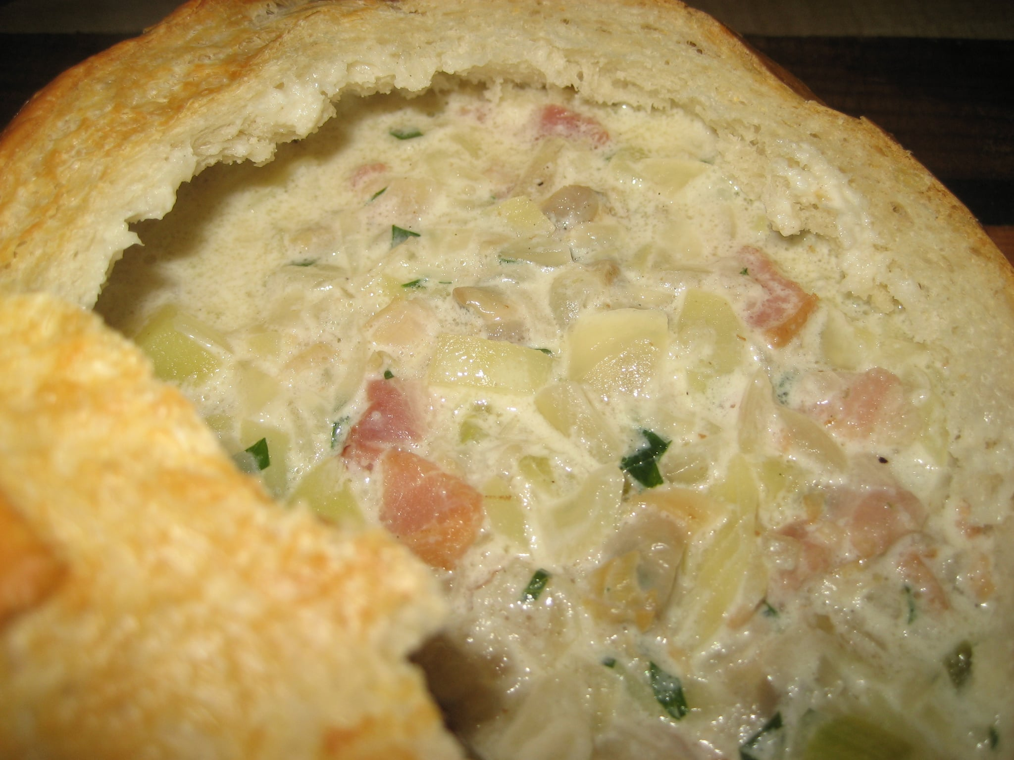 Soup's On: Clam Chowder in Bread Bowl