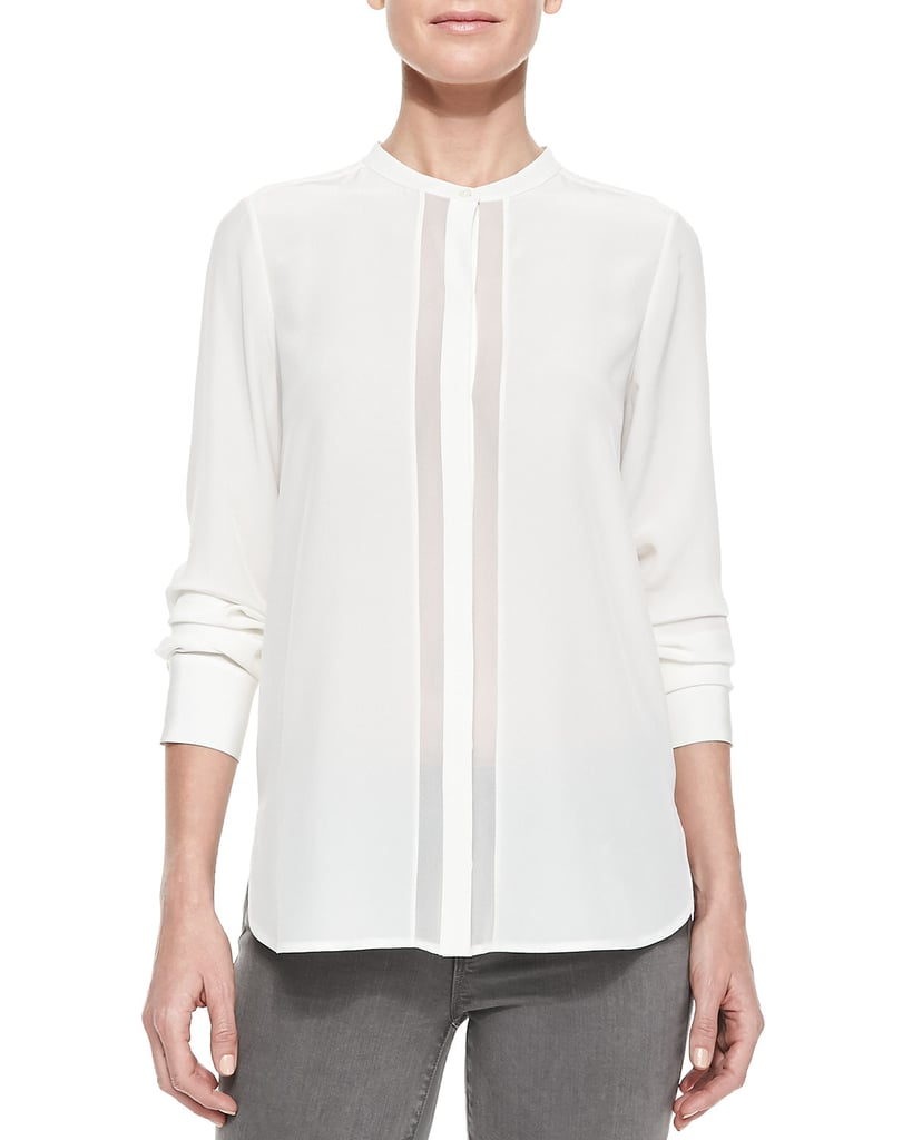 Vince Sheer and Charmeuse Long-Sleeve Blouse