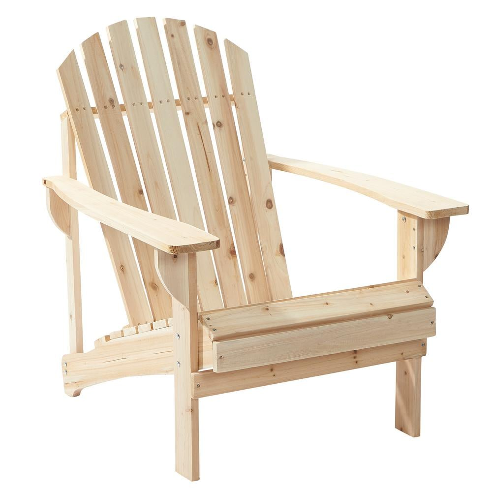 Hampton Bay Unfinished Stationary Wood Outdoor Adirondack Chairs