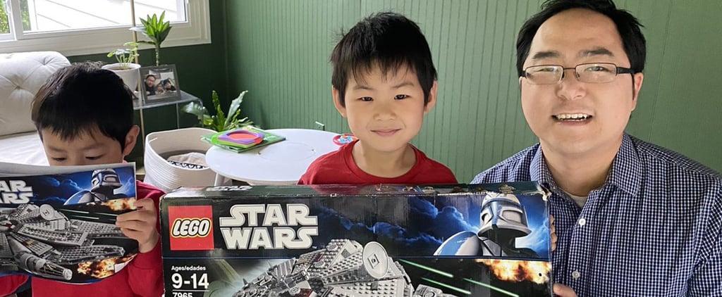 Dad Builds Wedding-Registry Lego Millennium Falcon With Sons