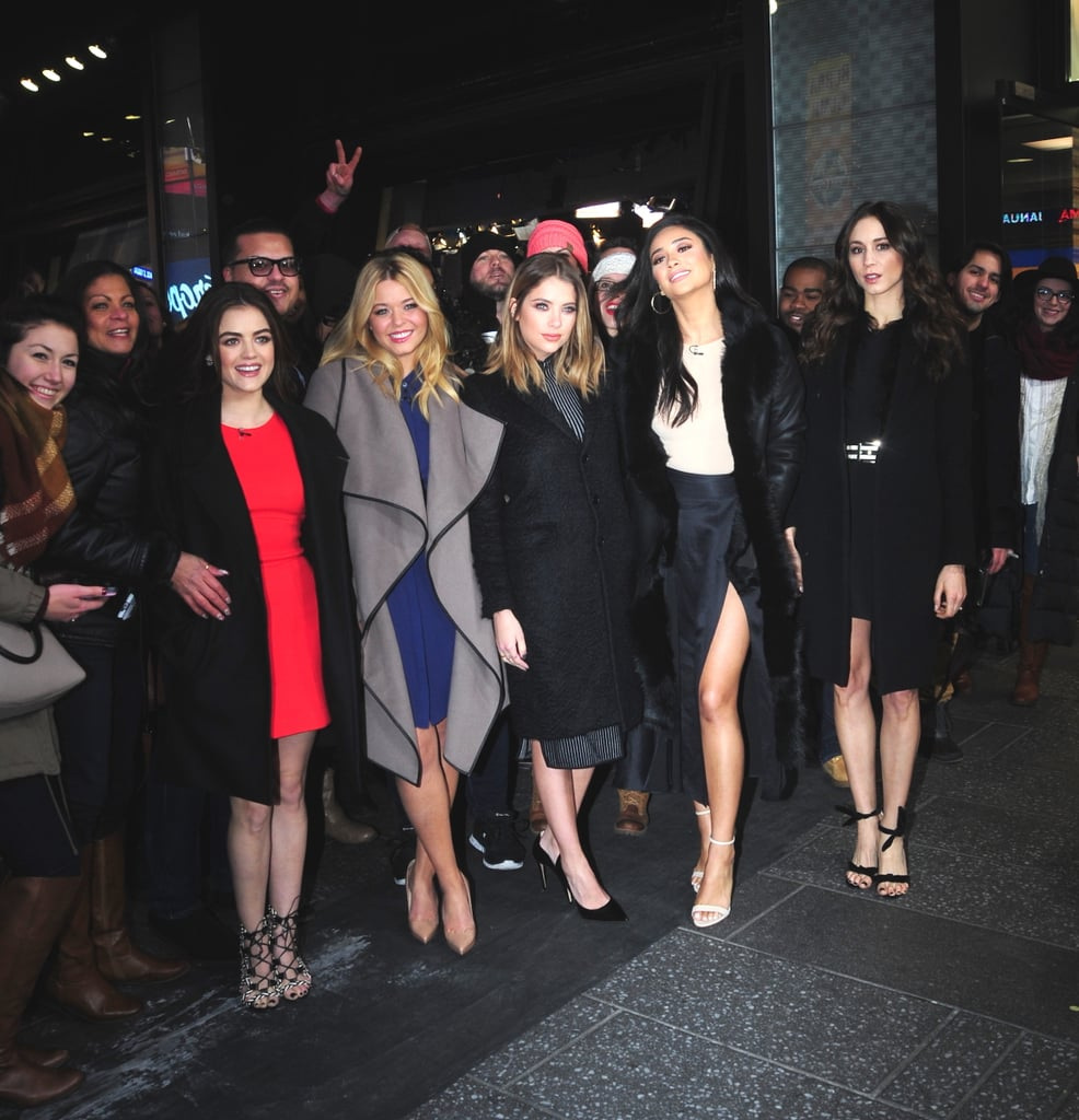 Lucy First Stepped Out With the PLL Cast Wearing a Formfitting Red Dress