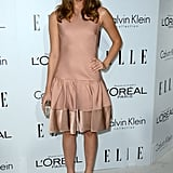 Christa B. Allen slipped into a girlie drop-waist dress and coordinating satin ankle-strap platforms.