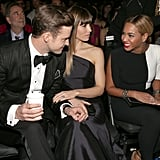 Justin Timberlake, Jessica Biel, and Beyoncé Knowles shared a moment while sitting together in the audience at the Grammy Awards.