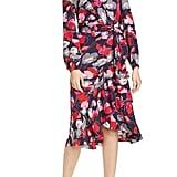DVF Carla Two Floral Long Sleeve Silk Wrap Dress