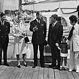 "Prince Charles, Princess Anne, and Prince Philip Board the ""British Steel"" in Hampshire in August 1971"