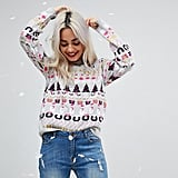 ASOS Foundation Petite All Things Christmas Jumper in Metallic Yarn