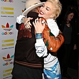 Gwen Stefani and Pharrell Williams shared a hug at an event for his collaboration with Adidas in LA on Wednesday.