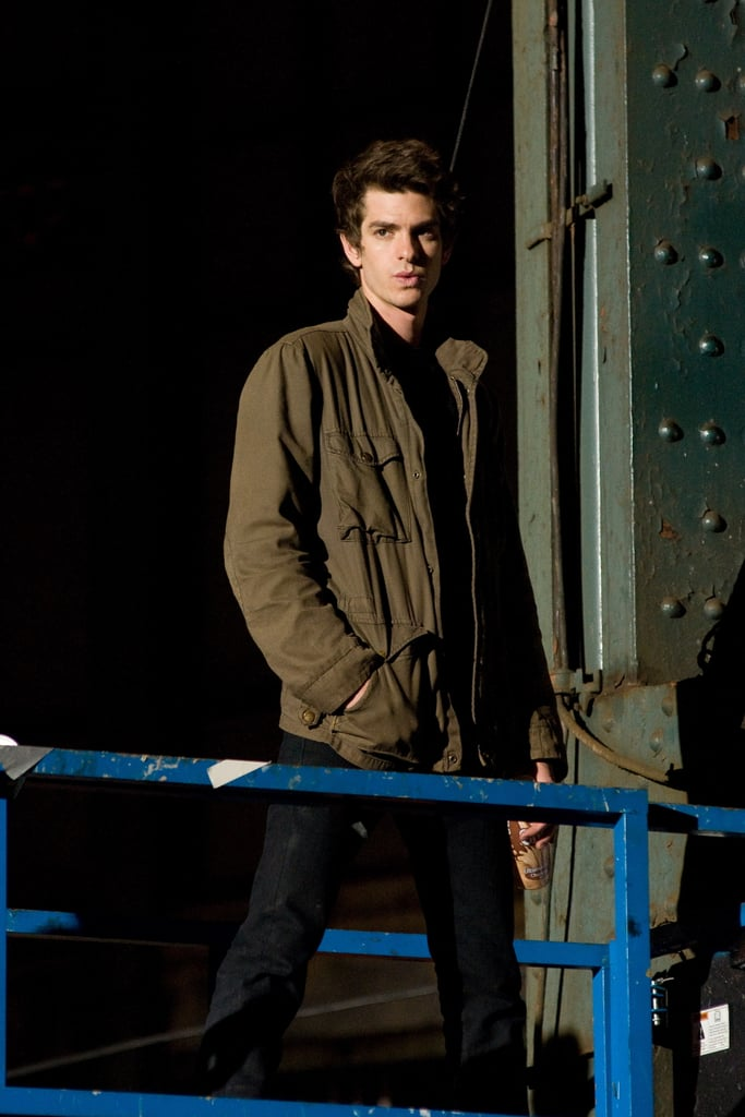 Andrew Garfield took a solo spin around the set of The Amazing Spider-Man in NYC last night before getting down to business in front of the cameras. He chatted with the director and rehearsed lines with costar Martin Sheen before they started rolling on a pivotal scene in which Peter Parker, Andrew's character, witnesses Uncle Ben, played by Martin, pass away. So far, most of Andrew's scenes have been shared with Emma Stone. She wasn't on hand for the late-night shoot but she's still holding onto her lead over Andrew in the PopSugar 100's category of hottest rising stars.