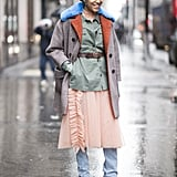 Layered under a jacket and coat, with just a peek of your pretty, frilly dress