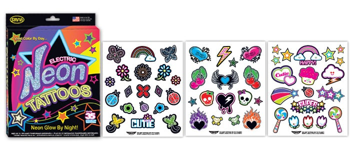 Neon Glow-in-the-Dark Temporary Tattoos (35 for $24)