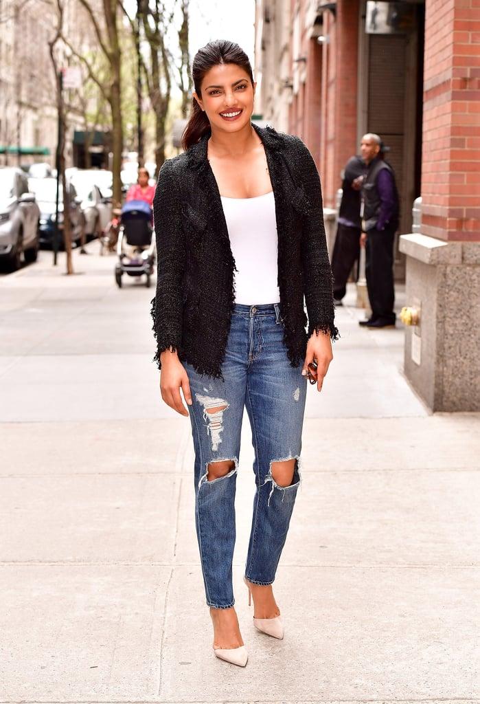 Priyanka Chopra Wore a Fringed Blazer, White Tank Top, Ripped Jeans, and Aquazzura Heels