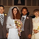 Susan wearing the dress at her wedding ceremony.