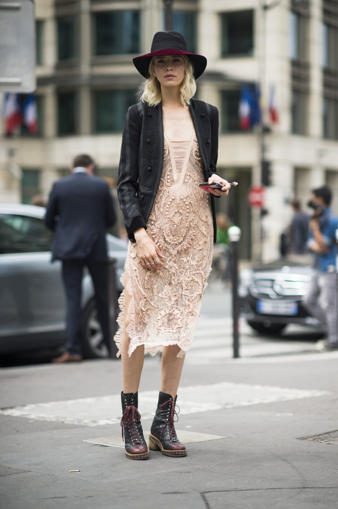 A romantic beaded dress got sharpened up right away with a black blazer and lace-up flat boots. Source: Le 21ème | Adam Katz Sinding