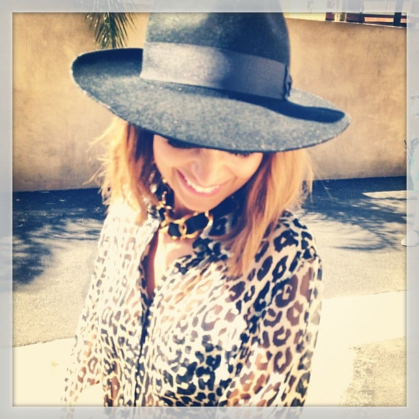 Nicole Richie showed off a breezy leopard-print blouse and wide-brimmed wool hat during a day out in LA. Source: Instagram user nicolerichie