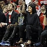 Kylie Jenner in Heels and Sweatpants at a Basketball Game