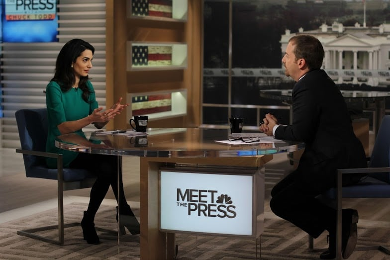 Amal also talked with Meet the Press' Chuck Todd in the same fashion-forward ensemble.