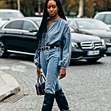 Make denim on denim a devastatingly good outfit with dramatic boots and a belt.