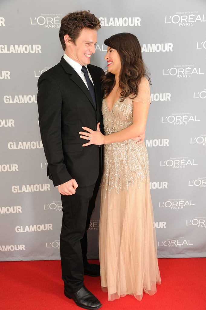 Jonathan Groff and Lea Michele shared a laugh.