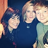 Jennifer Aniston spent Thanksgiving with Ed Sheeran and friends.  Source: Instagram user aleenkeshishian