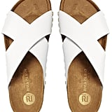 River Island white cork pool slides ($53)