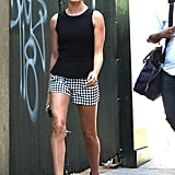The Summer Day She Styled a Black Tank With Checkered Shorts