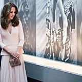 On May 4, Kate clocked up another three engagements in one day: opening a children's play area in Hampton Court before heading to London for an event supporting the work of the Anna Freud Centre, while in the evening she was at the National Portrait Gallery to view photographs from her recent Vogue shoot.
