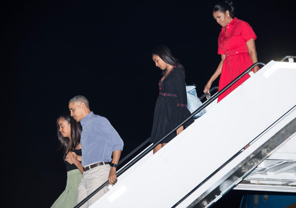 Michelle Obama Red Shirtdress in Hawaii December 2016