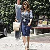 Eva Mendes returned to her after picking up supplies at a foam and fabric store in LA.